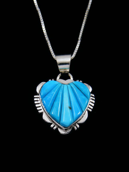 Navajo Cornrow Inlay Turquoise Sterling Silver Heart Pendant
