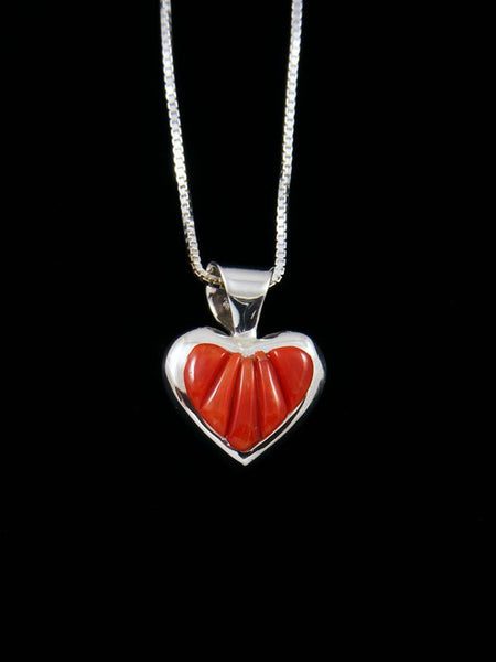 Navajo Cornrow Inlay Coral Sterling Silver Heart Pendant