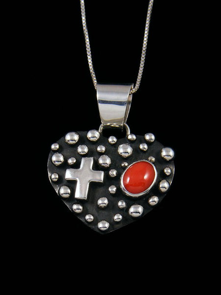 Coral Heart Navajo Handmade Droplet and Cross Pendant