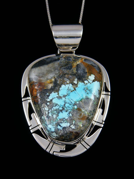Native American Natural Blue Moon Turquoise Sterling Silver Pendant