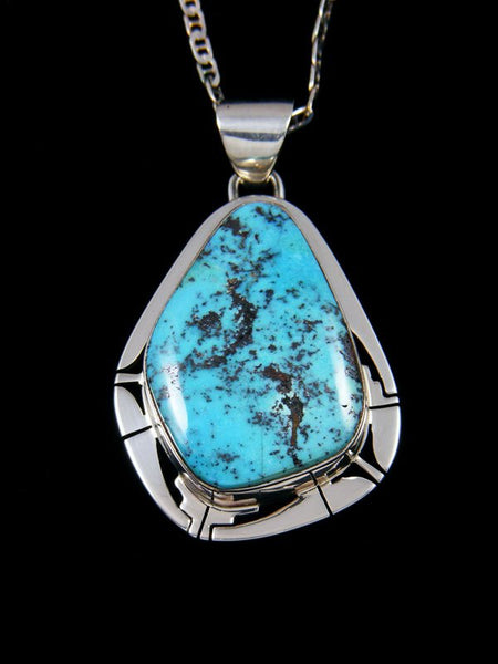 Candelaria Turquoise Navajo Sterling Silver Pendant
