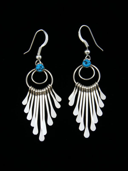 Navajo Sterling Silver Turquoise Waterfall Dangle Earrings