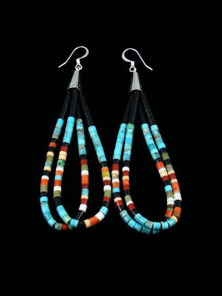 Black Jet and Turquoise Heishi Dangle Earrings