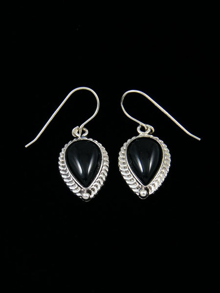 Black Onyx Tear Drop Sterling Silver Dangle Earrings