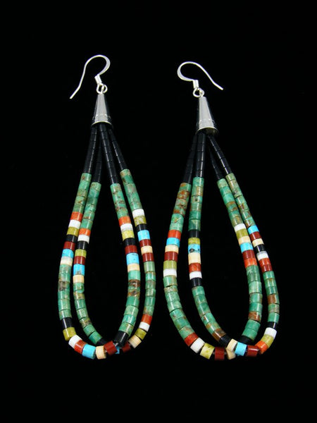 Black Jet and Green Turquoise Heishi Dangle Earrings