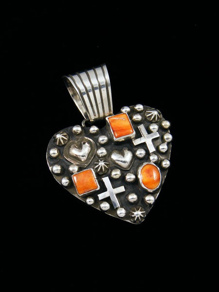 Native American Indian Spiny Oyster Heart Pendant