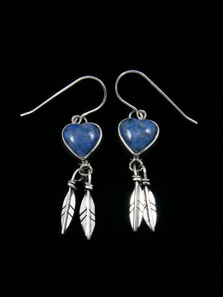 Navajo Denim Lapis Sterling Silver Heart Feather Earrings