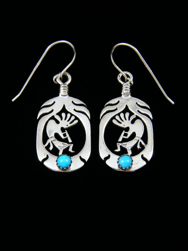 Navajo Sterling Silver Kokopelli Turquoise Dangle Earrings