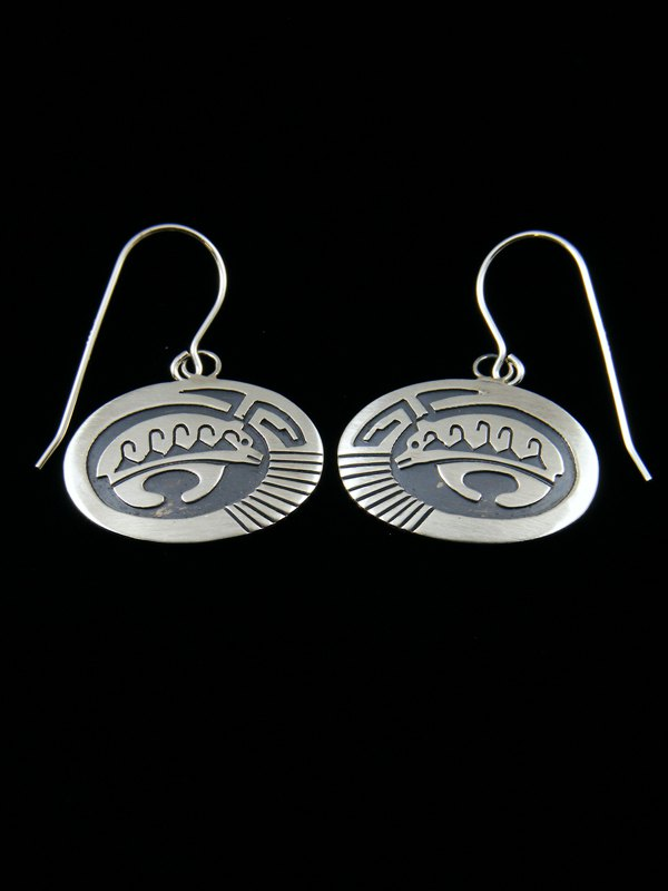 Sterling Silver Hopi Style Medicine Bear Earrings