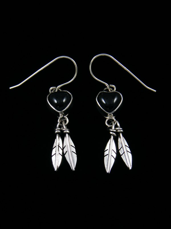 Navajo Onyx Sterling Silver Heart Feather Earrings