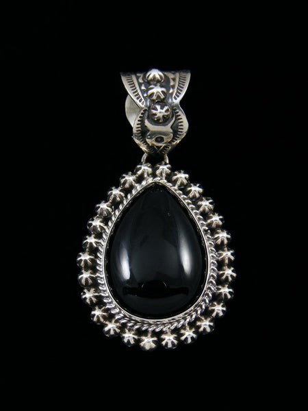 Native American Sterling Silver Black Onyx Starburst Pendant