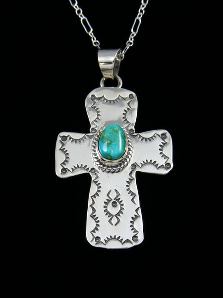 Native American Indian Jewelry Kingman Turquoise Cross Pendant