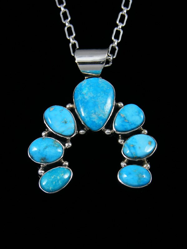 Native American Kingman Turquoise Naja Pendant Necklace