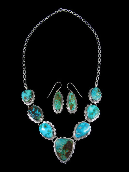 Navajo Sterling Silver Kingman Turquoise Necklace & Earrings Set