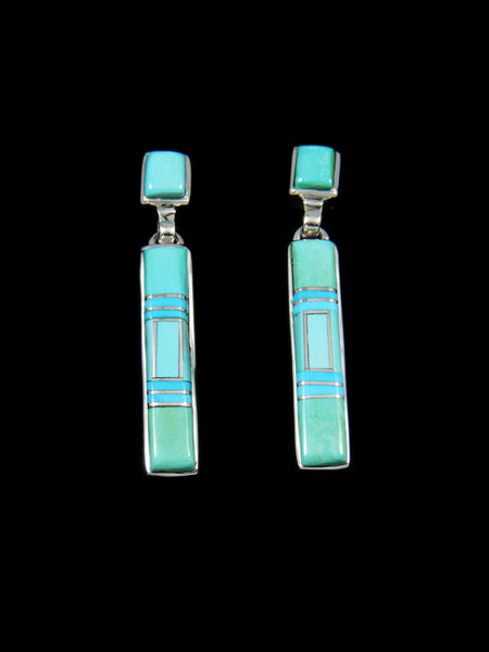 Native American Sterling Silver Turquoise Inlay Dangle Earrings