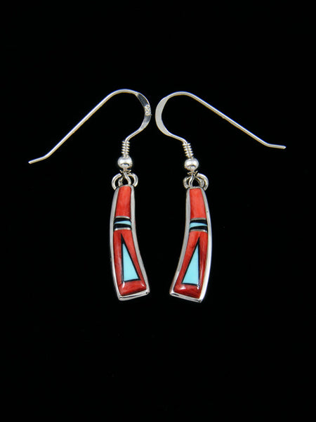 Native American Inlay Spiny Oyster Dangle Earrings