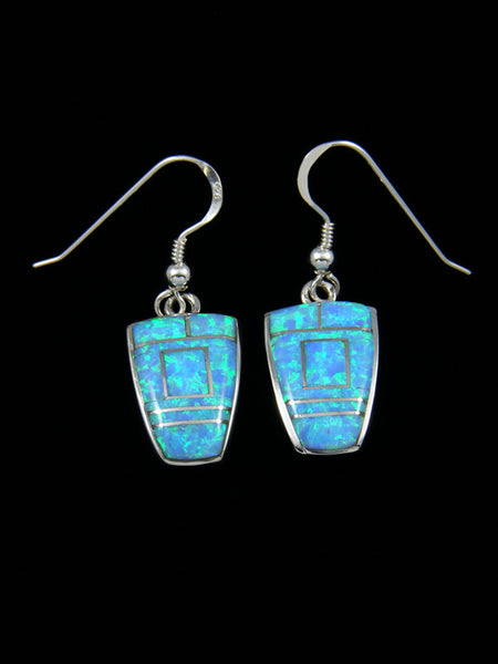 Native American Inlay Blue Opalite Dangle Earrings