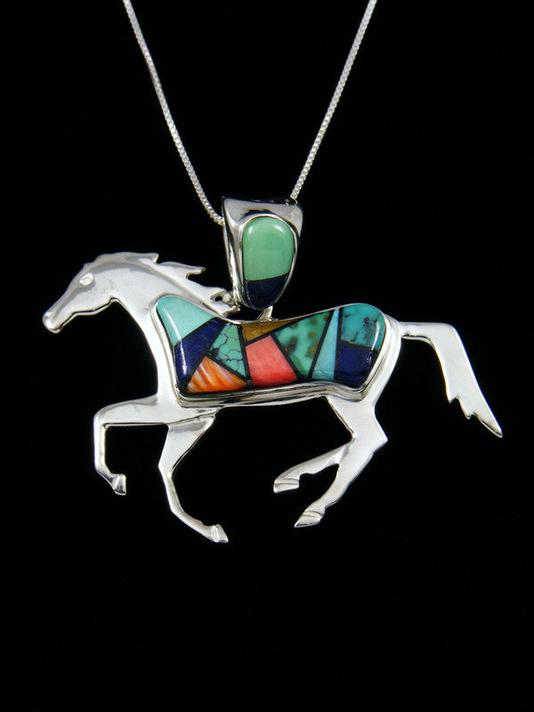 Native American Inlay Double Sided Horse Pendant