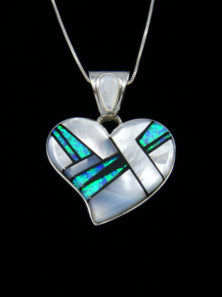 Native American Inlay Heart Pendant