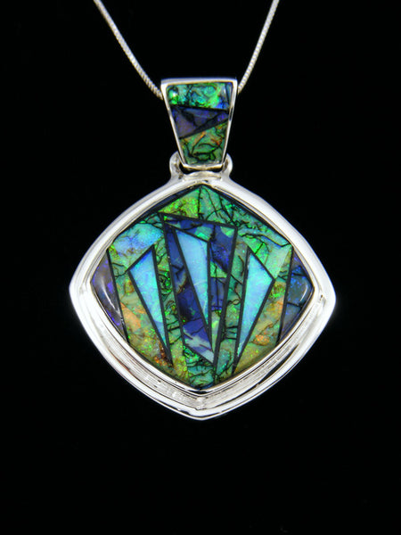 Native American Inlay Cultured Opal Pendant