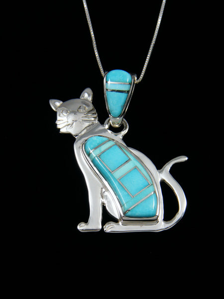 Native American Inlay Turquoise Cat Pendant