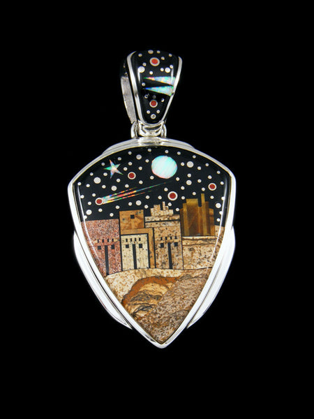 Night Sky Inlay Pueblo Design Pendant
