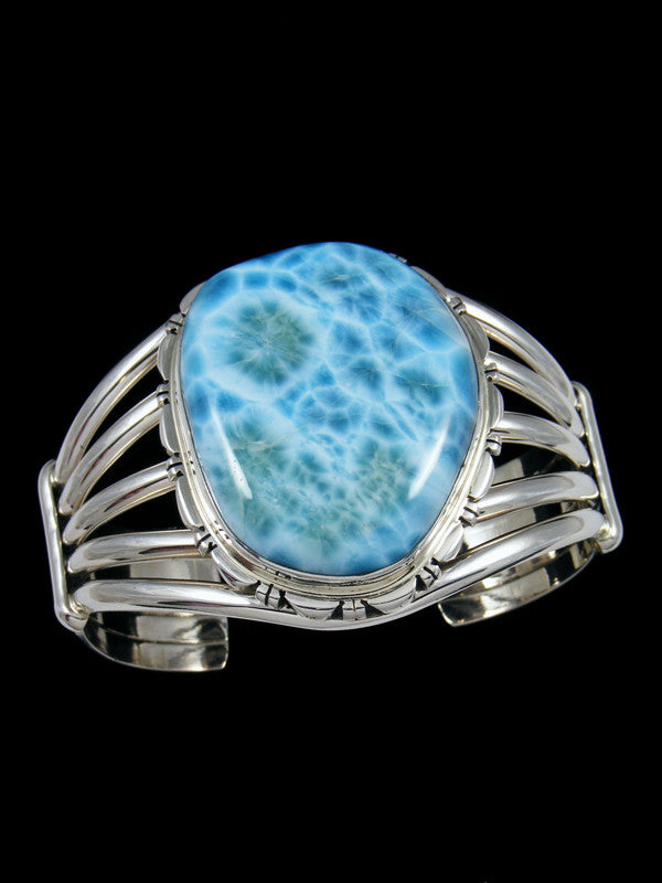Native American Jewelry Large Blue Larimar Cuff Bracelet