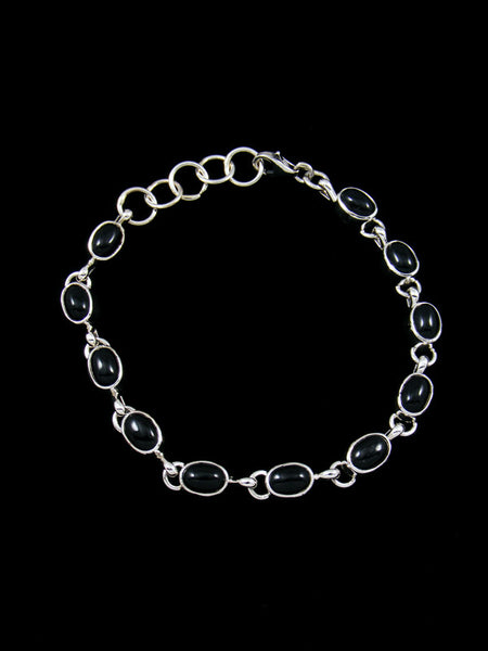 Native American Sterling Silver Black Onyx Link Bracelet