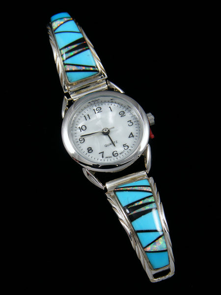 Native American Indian Jewelry Sterling Silver Turquoise Inlay Ladies' Watch