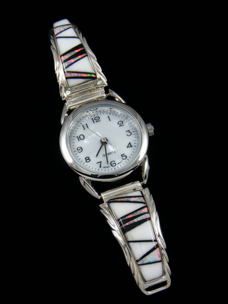 Native American Indian Jewelry Sterling Silver Inlay Ladies' Watch