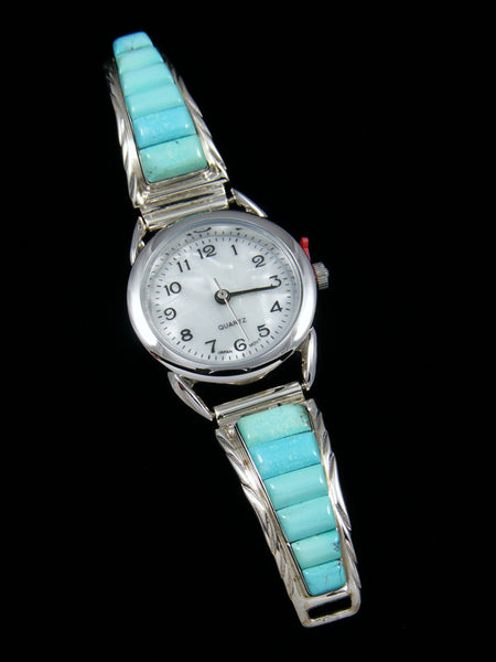 Native American Indian Jewelry Sterling Silver Turquoise Ladies' Watch