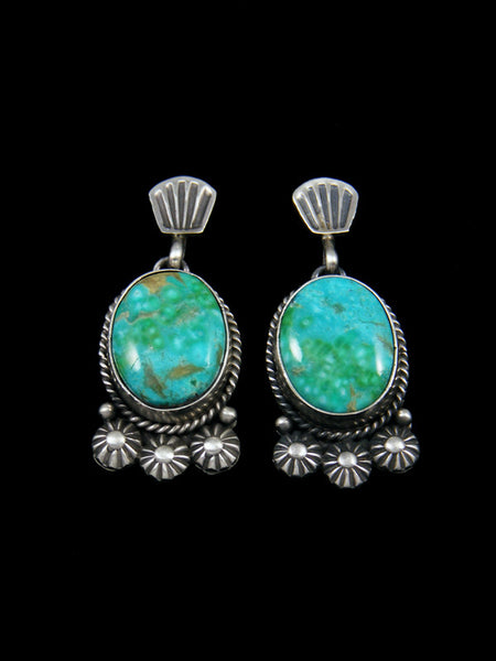 Navajo Sterling Silver Turquoise Sand Cast Post Earrings