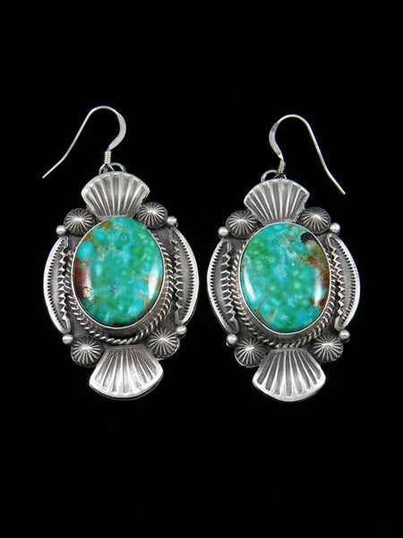Navajo Sterling Silver Turquoise Sand Cast Hook Earrings