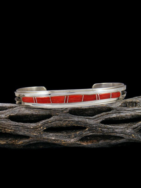 Native American Coral Inlay Cuff Bracelet