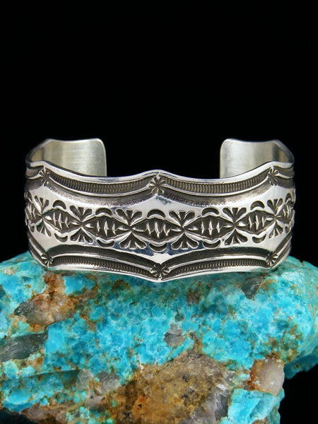 Navajo Sterling Silver Stamped Cuff Bracelet