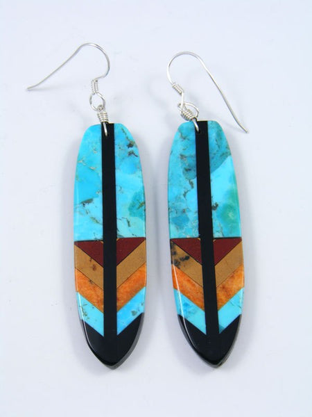 Mosaic Jet and Turquoise Santo Domingo Inlay Earrings