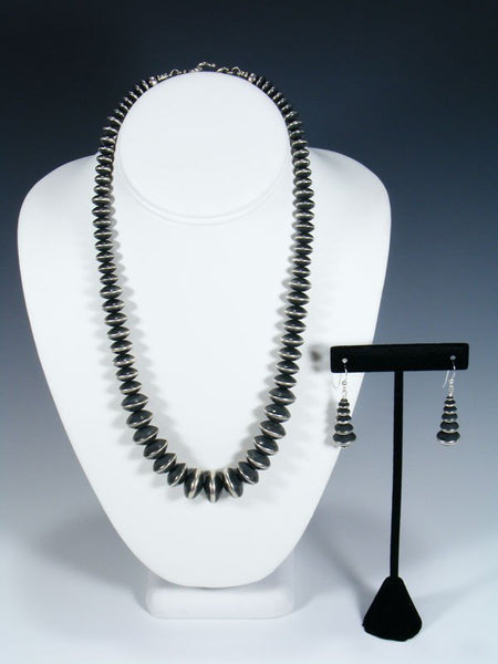 Native American Sterling Silver Graduated Bead Necklace and Earrings Set