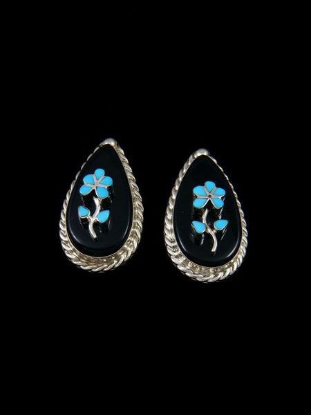 Sterling Silver Zuni Inlay Turquoise Flower Post Earrings
