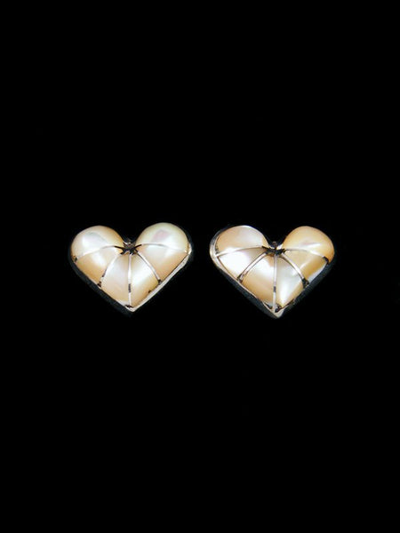 Native American Zuni Inlay Mother of Pearl Heart Post Earrings