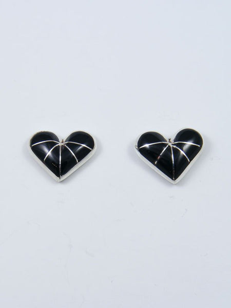 Native American Zuni Inlay Onyx Heart Post Earrings