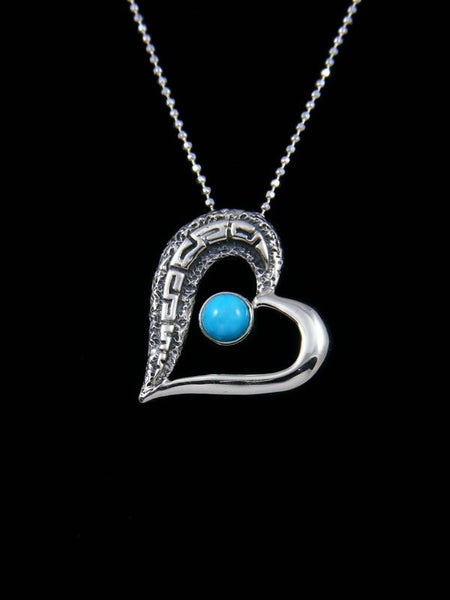 Navajo Necklace Sterling Silver Turquoise Heart Pendant