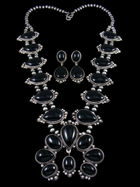 Native American Indian Sterling Silver Onyx Squash Blossom Necklace Set