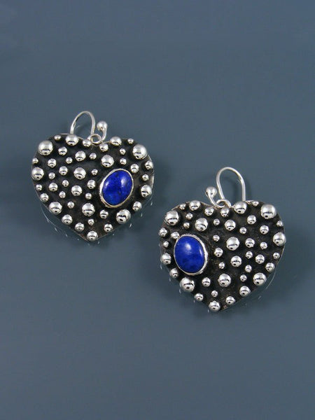 Native American Droplet and Cross Lapis Heart Dangle Earrings