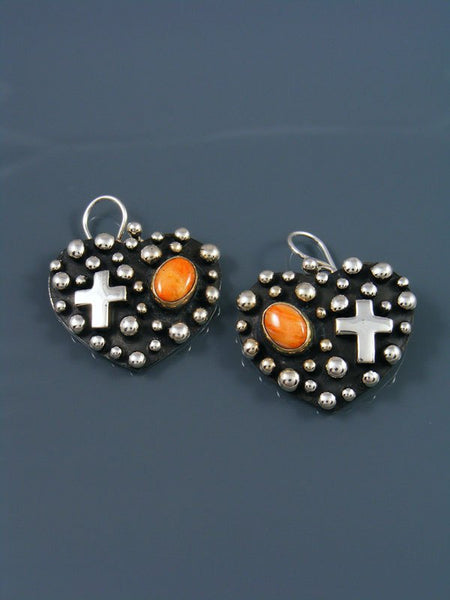 Native American Droplet and Cross Spiny Oyster Heart Dangle Earrings