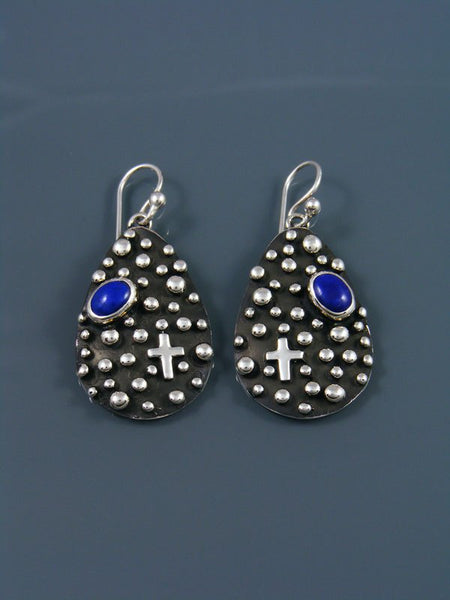 Native American Droplet and Cross Lapis Dangle Earrings