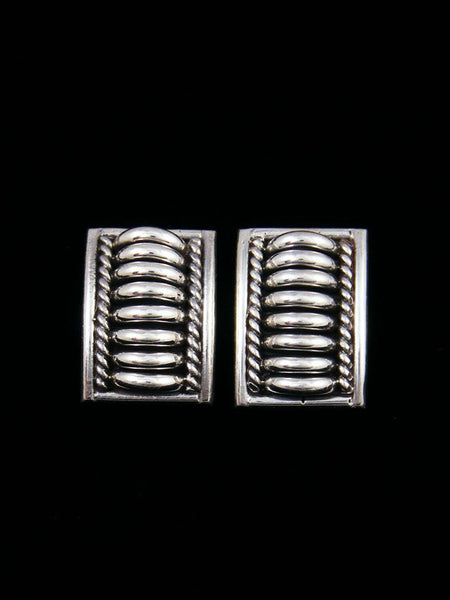 Navajo Sculpted Sterling Silver Post Earrings