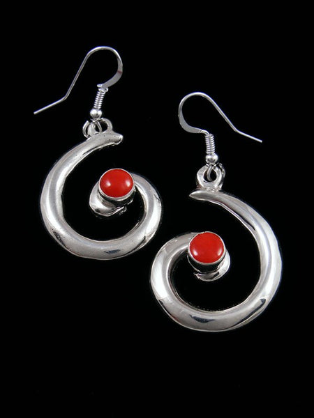 Navajo Coral Sterling Silver Swirl Dangle Earrings