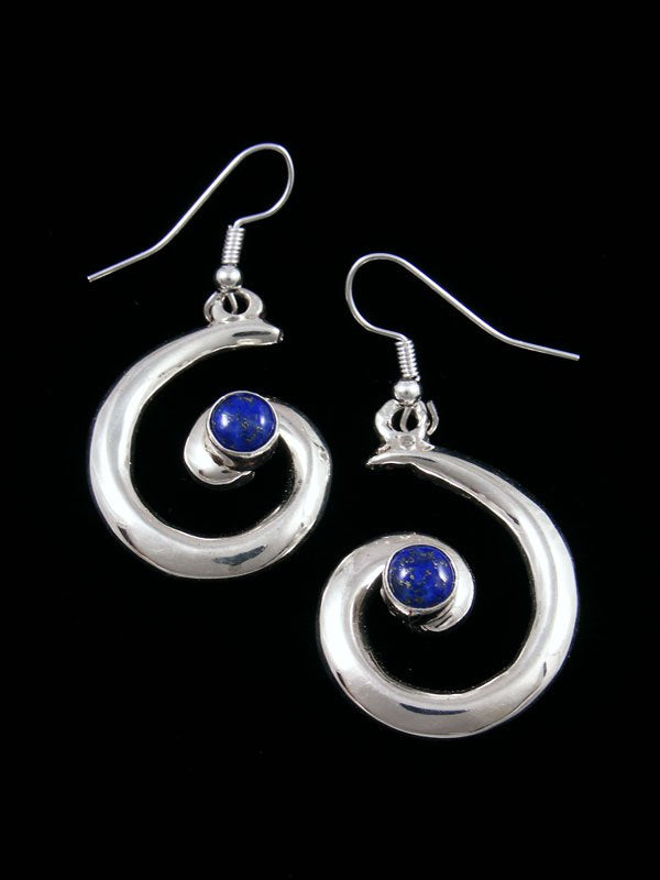 Navajo Lapis Sterling Silver Swirl Dangle Earrings