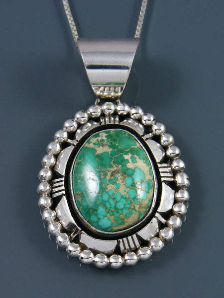 Native American Natural Carico Lake Turquoise Sterling Silver Pendant