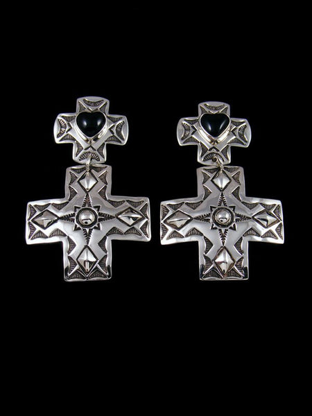 Navajo Sterling Silver Onyx Cross Post Earrings